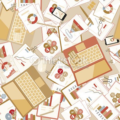 seamless flat business vector pattern with stationery