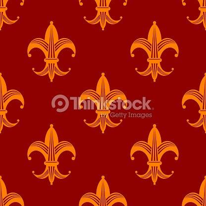 Seamless Fleur De Lys Royal Orange Pattern Vector Art Thinkstock