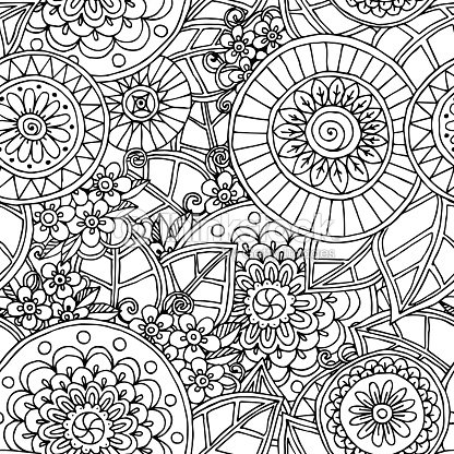 Seamless Floral Doodle Black And White Background Pattern