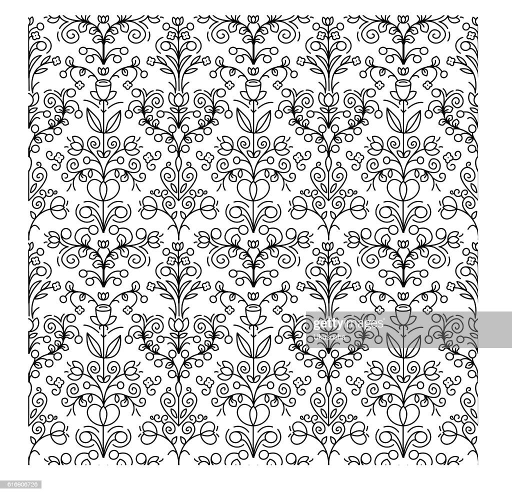 Seamless floral linear pattern. Black and white background : Vector Art
