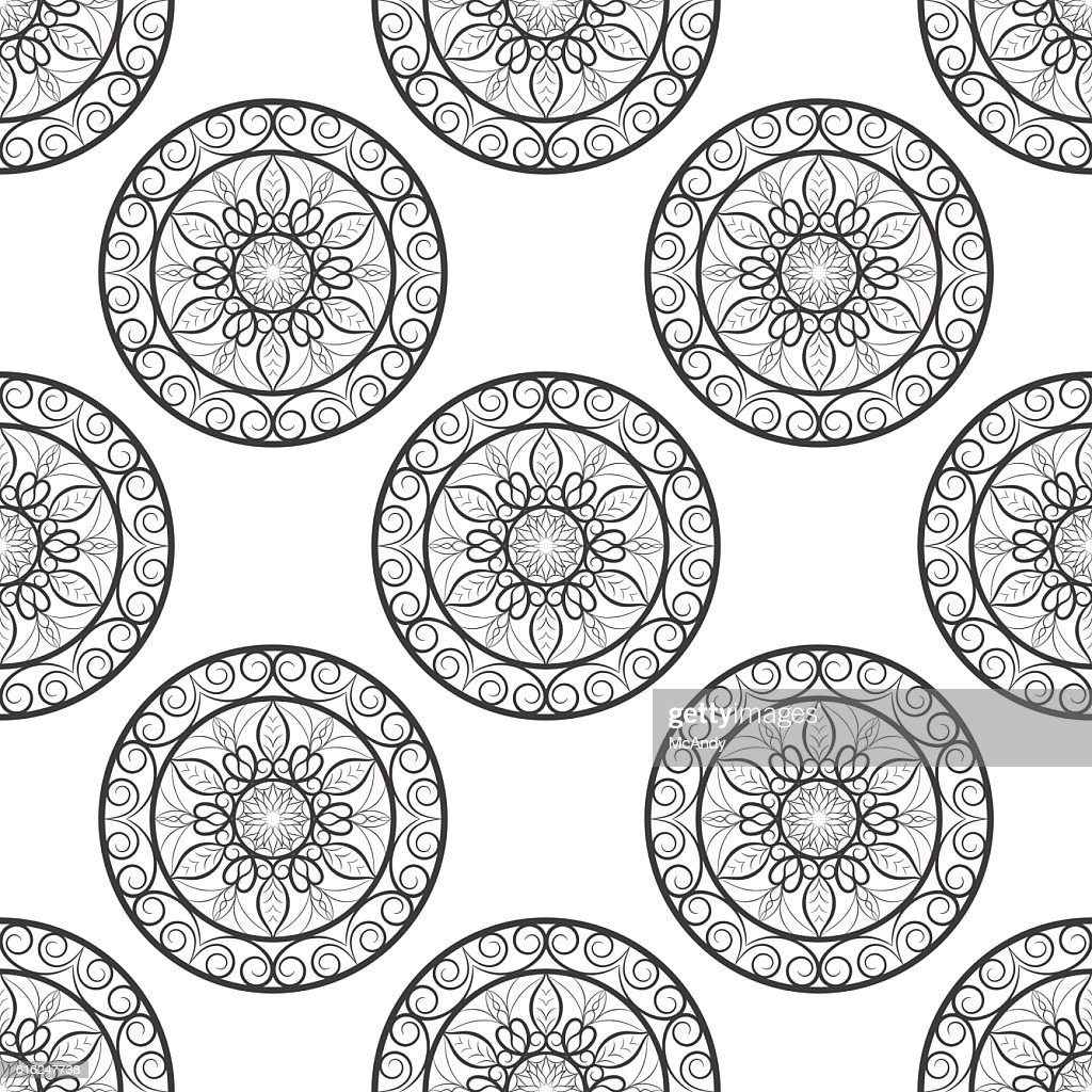 Seamless floral pattern. Black and white. Coloring book page. : Vector Art