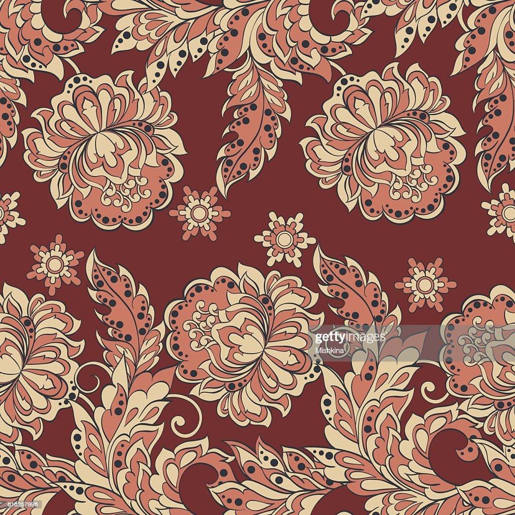 Sem costura padrão floral em estilo Damascena. Vintage ilustração vetorial. : Arte vetorial