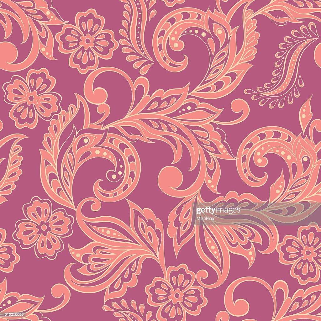 Patrón sin costuras floral en Indian mehndi estilo : Arte vectorial