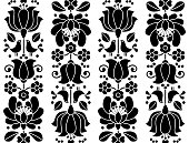 Traditional black and white pattern from Hungary, retro style