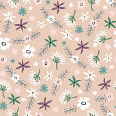 Seamless floral pattern . Pastel texture with flowers for fabric, wrapping, textile, wallpaper, apparel. Vector illustration