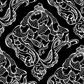 seamless floral pattern. White vector illustration on black background. vector