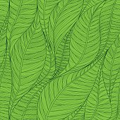 Seamless floral pattern with abstract leaves. Colorful vector background in green colors. Background for leaflets, cards, invitations, packaging and banner. Vector linear background.