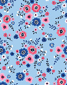 Vector seamless floral pattern with pink and white flowers on blue background