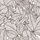 Seamless floral pattern with stylized autumn foliage. Falling leaves.