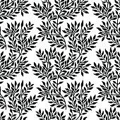 Seamless foliate ornament. Black and white pattern
