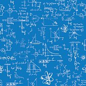 Seamless pattern of formulas and pictures concerning to physics. EPS 8.