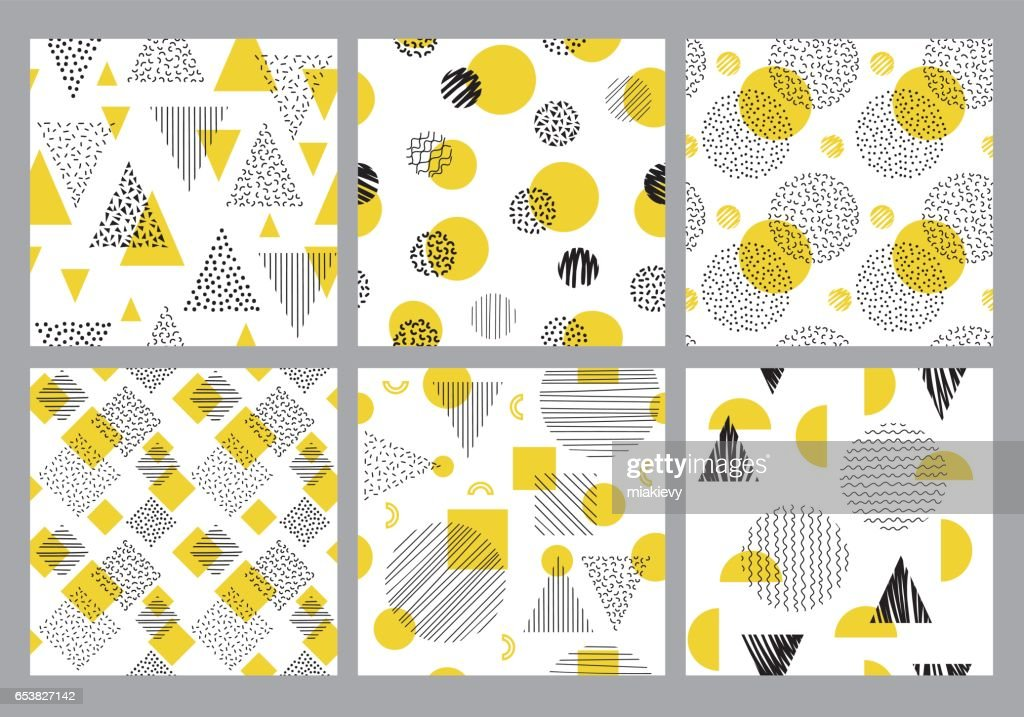 Seamless geometric pattern set : Vector Art