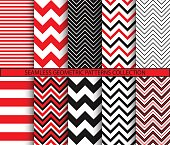 Seamless geometric patterns collection. Square tile if doubled. 1 to 2 ratio. Red black white graphic prints. Chevron backgrounds set. Zigzag and stripes ornaments. Vector illustration.