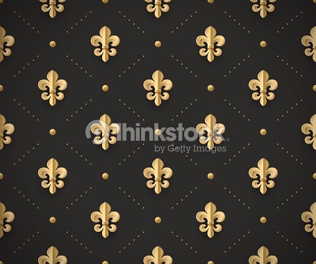 seamless gold pattern with fleurdelys on a dark vector art thinkstock