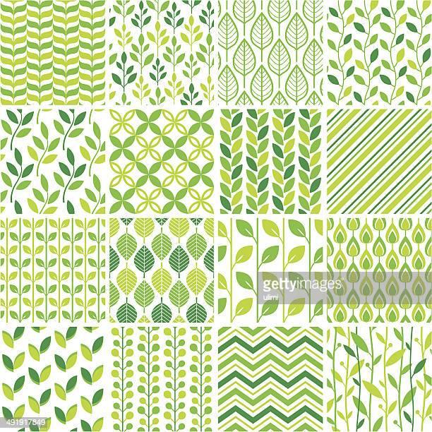 Nahtlose grüne Muster-set