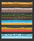 Seamless ground elements set, vector landscape illustration