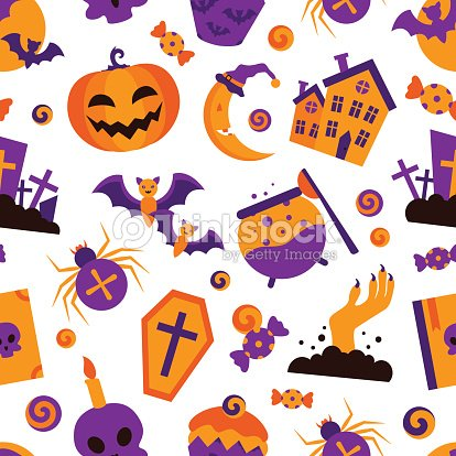 Seamless Halloween Patterns Vector Illustration Flat Style Vector ...