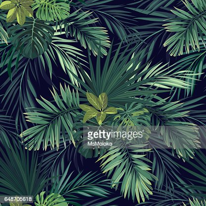 Seamless hand drawn botanical exotic vector pattern with green palm leaves on dark background : Vector Art
