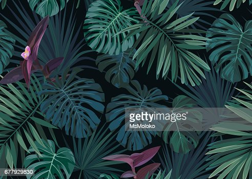 Seamless hand drawn botanical exotic vector pattern with green palm leaves on dark background : stock vector