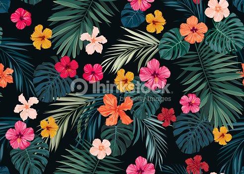 nahtlose hand gezeichneten tropischen vektormuster mit hellen hibiskus blumen und exotischen. Black Bedroom Furniture Sets. Home Design Ideas