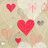 Seamless hand drawn vector pattern of red and white hearts with plant veins, physalis and leaves on beige background. Concept of for Valentine's Day, weddings, autumn.