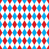 Seamless harlequin pattern background in red and blue.