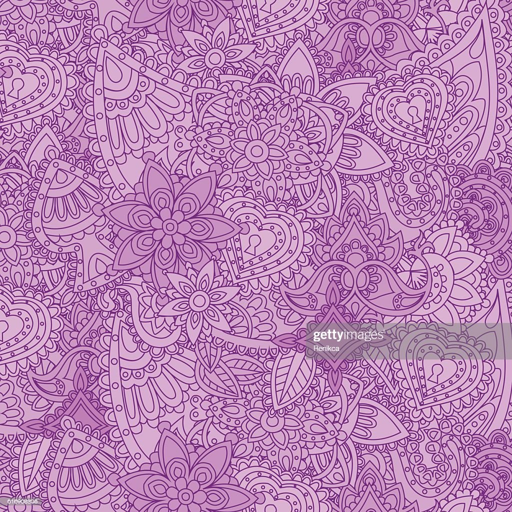 Seamless Indian ethnic patterns in the style of mehndi : Vector Art