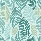 seamless leaves pattern with green background