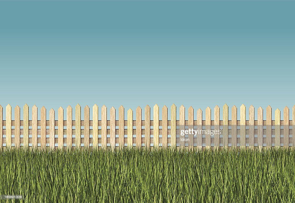 Seamless long grass and picket fence background vector art for Long grass in garden