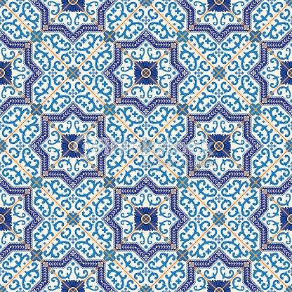 seamless moroccan portuguese tiles azulejo ornaments vector art thinkstock. Black Bedroom Furniture Sets. Home Design Ideas