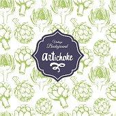 Vegetables vintage pattern. Hand-drawn sketch of artichoke.