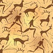 Seamless pattern depicting a hunter and prey in the style of rock art.