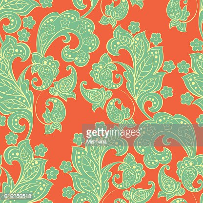 Seamless Paisley pattern in indian style. Floral vector illustration : Vector Art