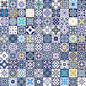 Mega Gorgeous seamless patchwork pattern from colorful Moroccan tiles, ornaments. Can be used for wallpaper, pattern fills, web page background,surface textures.Luxury oriental tile seamless pattern.