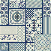 Seamless patchwork tile with Victorian motives in blue and beige. Vector illustration.