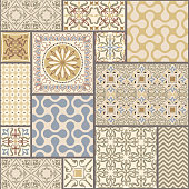 seamless patchwork tile with Victorian motives in retro colors