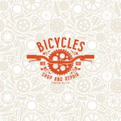 Seamless pattern with image of bicycle details. Bike shop label