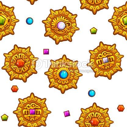 Patrón Sin Costuras Símbolos Aztecas Con Gemas Preciosas De Colores