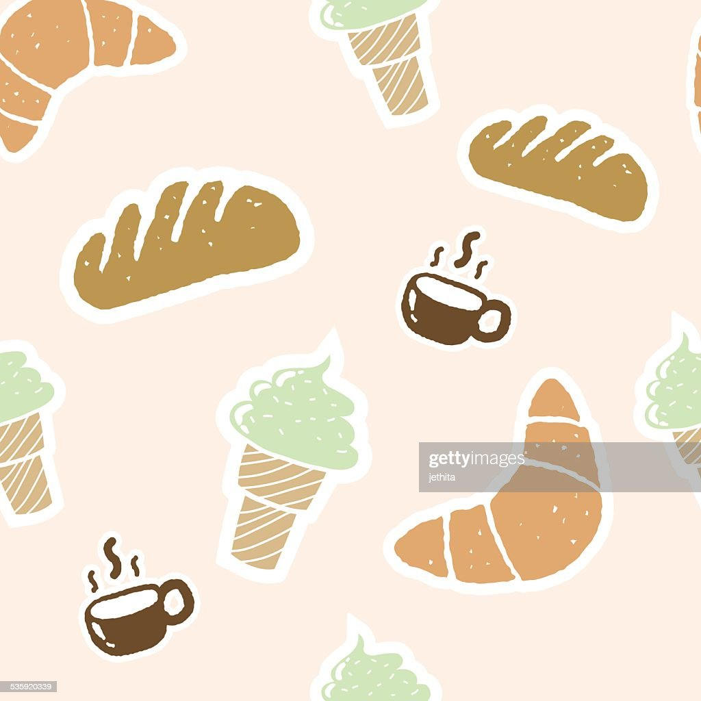 seamless pattern bakery set illustration : Vector Art