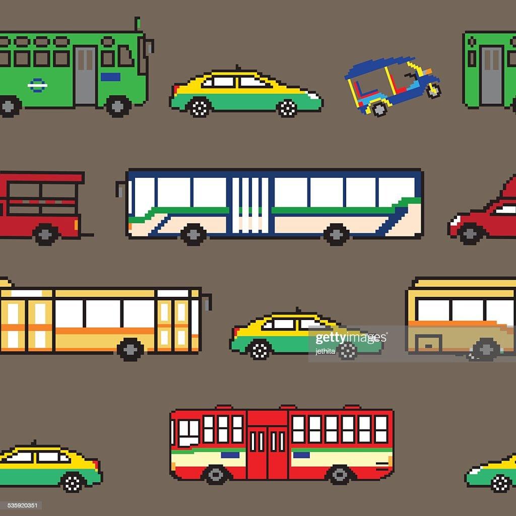 seamless pattern Bangkok public transportation illustration pixe : Vector Art