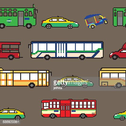 seamless pattern Bangkok public transportation illustration pixe : Vector Art