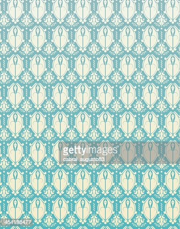 Patrón sin costuras de flor Retro fondo azul damascena : Arte vectorial