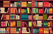 vector illustration seamless pattern background retro bookshelf in flat style
