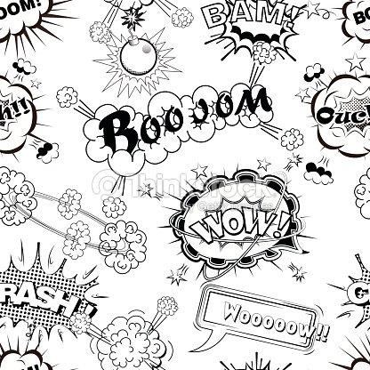 seamless pattern comic speech bubbles sound effects vector