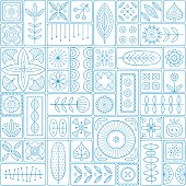 Scandinavian design tiles with floral abstractions. Patterns and ornaments with Scandinavian motifs within the rectangular frames. Linear style illustration. Blue seamless background.