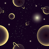 Seamless pattern depicting cosmos, galaxy with stars, planets and other space objects. Vector illustration.