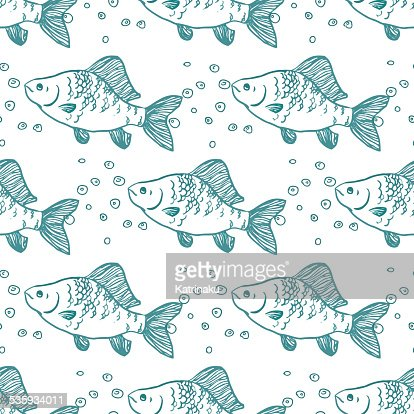Seamless pattern fish. Perch. Vector : Vector Art