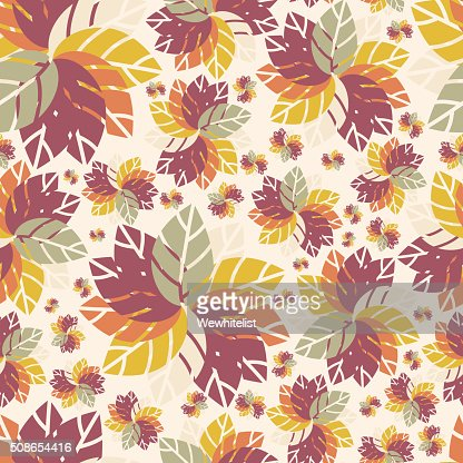 Seamless pattern. Flowers. Bright leaves. Autumn pattern. Beautiful floral pattern. : Vector Art