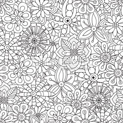 Coloriage Adulte Fond Noir.Seamless Pattern Pour Livre De Coloriage Adulte Fleurs Floral