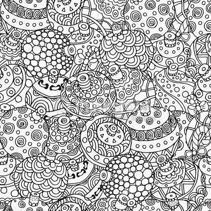Seamless Pattern For Coloring Book Christmas Balls Vector Art